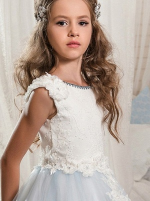 Ball Gown Floor Length Wedding / Event / Party Flower Girl Dresses - Poly Sleeveless Jewel Neck With Lace / Appliques_3