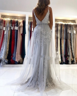 ZY368 Silver Evening Dresses Long Cheap Prom Dresses With Lace_2