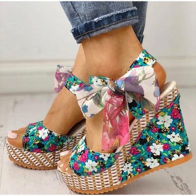 FFT416 Women Platform Floral Bowknot Ankle Strap Peep Toe Wedge Sandals_3