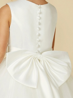 A-Line Floor Length Wedding / First Communion Flower Girl Dresses - Satin / Tulle Sleeveless Jewel Neck With Bow(S) / Buttons_12