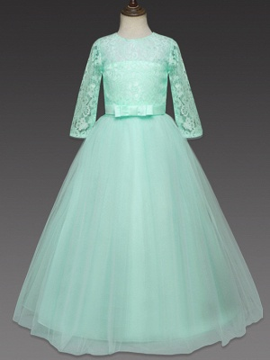 Princess Long Length Wedding / Party / Pageant Flower Girl Dresses - Lace / Tulle Half Sleeve Jewel Neck With Lace / Belt_12