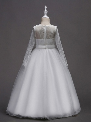 Princess Long Length Wedding / First Communion Flower Girl Dresses - Lace / Satin / Tulle Long Sleeve Jewel Neck With Lace / Belt_3
