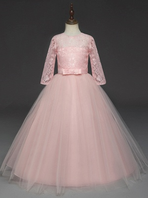 Princess Long Length Wedding / Party / Pageant Flower Girl Dresses - Lace / Tulle Half Sleeve Jewel Neck With Lace / Belt_7