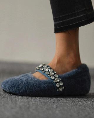 FFT224 Women's Solid Fluffy Crystal Bandage Upper Loafer_5