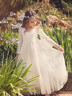 Sheath / Column Maxi Wedding / Birthday / Holiday Flower Girl Dresses - Lace / Cotton 3/4 Length Sleeve V Neck With Lace_1