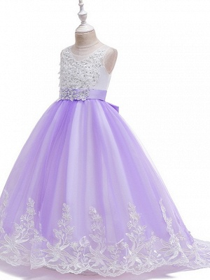 Princess / Ball Gown Court Train Wedding / Party Flower Girl Dresses - Tulle Sleeveless Jewel Neck With Bow(S) / Beading / Appliques_6