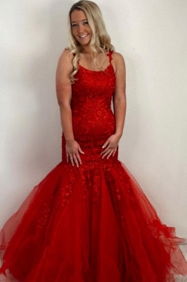 ZY414 Red Prom Dresses Long Cheap Evening Dresses Lace_1