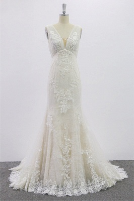 SD1957 Mermaid V-neck Floral Appliques Tulle Backless Wedding Dress_1