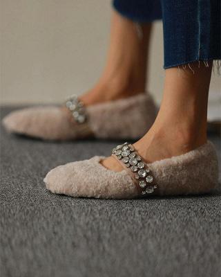 FFT224 Women's Solid Fluffy Crystal Bandage Upper Loafer_2