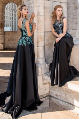 ZY432 Elegant Evening Dresses Long Black Prom Dresses With Lace_3