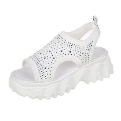 FFT444 Women Casual Flyknit Fabric Rhinestones Slip On Creepers Platform Sandals_13