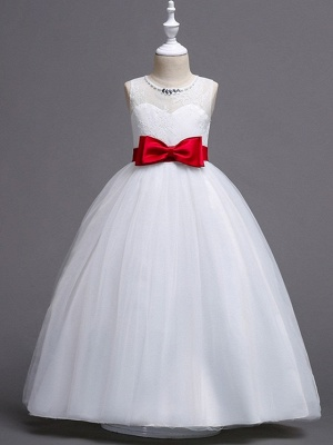 Princess / Ball Gown Floor Length Wedding / Party Flower Girl Dresses - Tulle Sleeveless Jewel Neck With Sash / Ribbon / Bow(S) / Embroidery_2