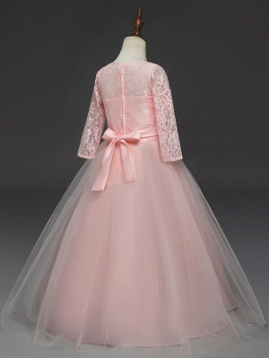Princess Long Length Wedding / Party / Pageant Flower Girl Dresses - Lace / Tulle Half Sleeve Jewel Neck With Lace / Belt_10