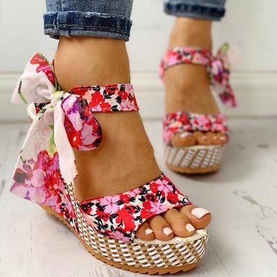 FFT416 Women Platform Floral Bowknot Ankle Strap Peep Toe Wedge Sandals_4