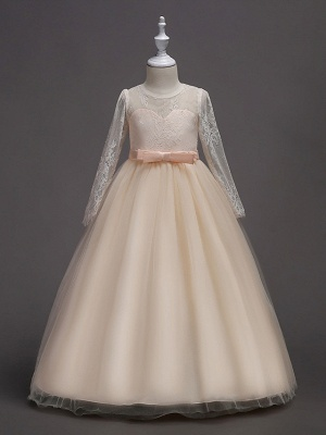 Princess Long Length Wedding / First Communion Flower Girl Dresses - Lace / Satin / Tulle Long Sleeve Jewel Neck With Lace / Belt_4