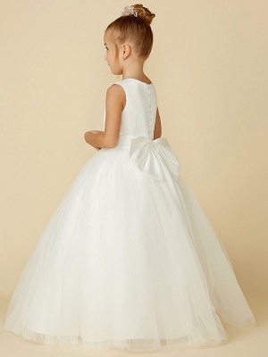 A-Line Floor Length Wedding / First Communion Flower Girl Dresses - Satin / Tulle Sleeveless Jewel Neck With Bow(S) / Buttons_2