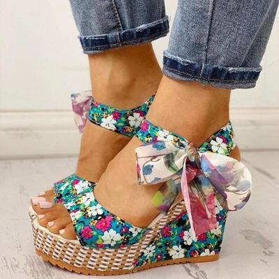 FFT416 Women Platform Floral Bowknot Ankle Strap Peep Toe Wedge Sandals_2