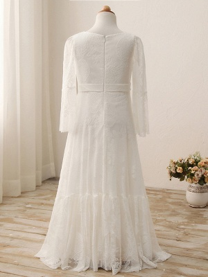 Sheath / Column Maxi Wedding / Birthday / Holiday Flower Girl Dresses - Lace / Cotton 3/4 Length Sleeve V Neck With Lace_3