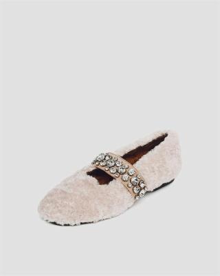 FFT224 Women's Solid Fluffy Crystal Bandage Upper Loafer_4