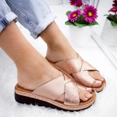 FFT445 Women Fashion Retro Colorblock Platform Slippers_3