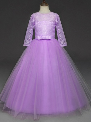 Princess Long Length Wedding / Party / Pageant Flower Girl Dresses - Lace / Tulle Half Sleeve Jewel Neck With Lace / Belt_14