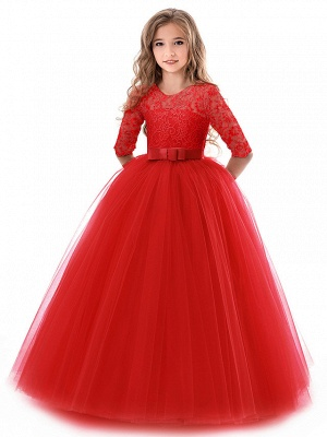 Princess Long Length Wedding / Party / Pageant Flower Girl Dresses - Lace / Tulle Half Sleeve Jewel Neck With Lace / Belt_17