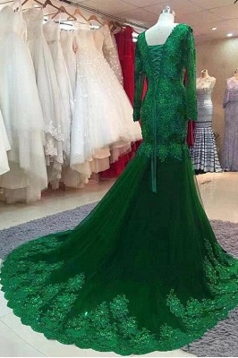 ZY407 Green Evening Dress Evening Dresses Long With Sleeves_2