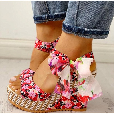 FFT416 Women Platform Floral Bowknot Ankle Strap Peep Toe Wedge Sandals_5