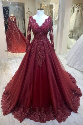 ZY436 Modern Evening Dresses With Sleeves Red Prom Dresses Cheap_1
