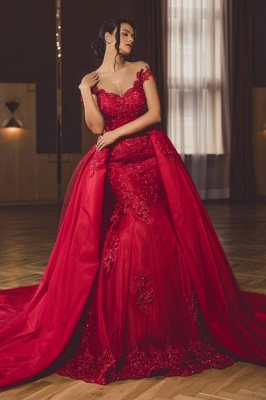 ZY418 Evening Dress Long Red Evening Dresses With Lace_1