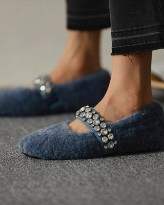 FFT224 Women's Solid Fluffy Crystal Bandage Upper Loafer_6