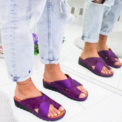 FFT445 Women Fashion Retro Colorblock Platform Slippers_6
