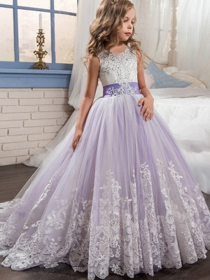 Princess Sweep / Brush Train / Long Length Wedding / Party / Pageant Flower Girl Dresses - Lace / Tulle Sleeveless Jewel Neck With Belt / Appliques_8