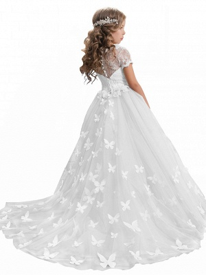 Ball Gown Sweep / Brush Train Wedding / Birthday / Pageant Flower Girl Dresses - Tulle / Cotton Short Sleeve Jewel Neck With Lace / Embroidery / Appliques_14