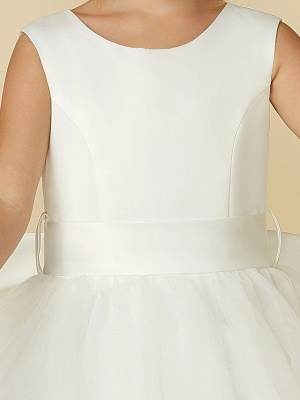 A-Line Floor Length Wedding / First Communion Flower Girl Dresses - Satin / Tulle Sleeveless Jewel Neck With Bow(S) / Buttons_11