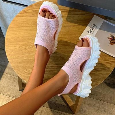 FFT444 Women Casual Flyknit Fabric Rhinestones Slip On Creepers Platform Sandals_5