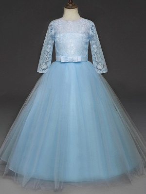 Princess Long Length Wedding / Party / Pageant Flower Girl Dresses - Lace / Tulle Half Sleeve Jewel Neck With Lace / Belt_11