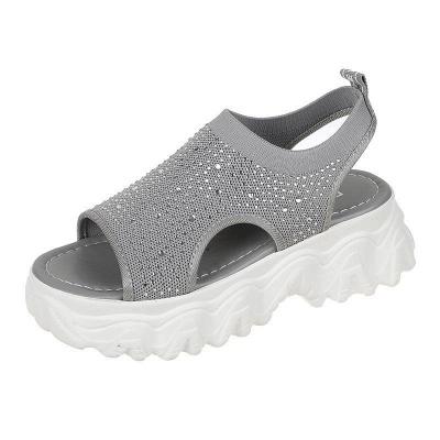 FFT444 Women Casual Flyknit Fabric Rhinestones Slip On Creepers Platform Sandals_12