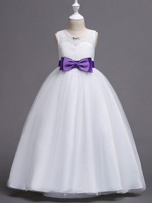 Princess / Ball Gown Floor Length Wedding / Party Flower Girl Dresses - Tulle Sleeveless Jewel Neck With Bow(S) / Beading / Embroidery_5