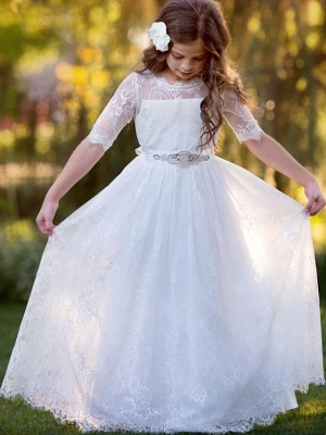 Princess / A-Line Floor Length Wedding / Party Flower Girl Dresses - Lace / Tulle Long Sleeve Jewel Neck With Tier / Flower / Solid_2