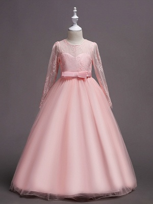 Princess Long Length Wedding / First Communion Flower Girl Dresses - Lace / Satin / Tulle Long Sleeve Jewel Neck With Lace / Belt_6