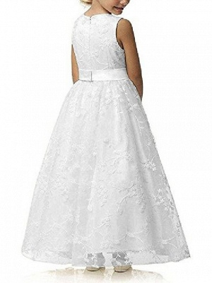 A Line Wedding Pageant Lace Flower Girl Dress With Belt 2-12 Year Old &Amp;;White, Custom Size&Amp;;_6