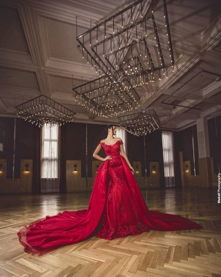 ZY418 Evening Dress Long Red Evening Dresses With Lace_3