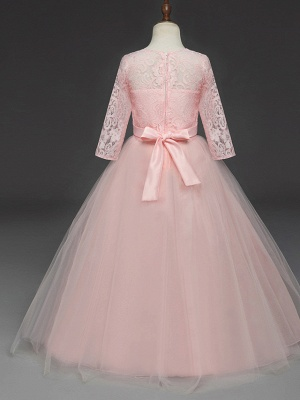 Princess Long Length Wedding / Party / Pageant Flower Girl Dresses - Lace / Tulle Half Sleeve Jewel Neck With Lace / Belt_9
