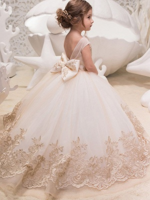 Princess Sweep / Brush Train Wedding / Birthday / Pageant Flower Girl Dresses - Lace / Tulle / Cotton Sleeveless Jewel Neck With Lace / Bow(S) / Embroidery_2