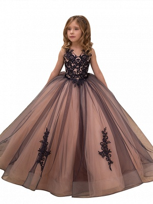 Ball Gown Maxi Birthday / Pageant Flower Girl Dresses - Tulle / Satin Chiffon Sleeveless V Neck With Lace / Embroidery / Appliques_1