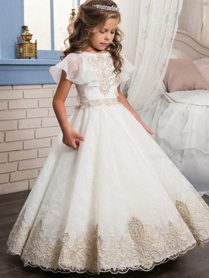 Ball Gown Floor Length Wedding / Birthday / Pageant Flower Girl Dresses - Lace / Tulle / Cotton Short Sleeve Jewel Neck With Lace / Beading / Embroidery_1