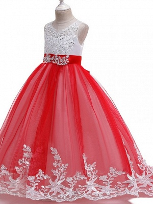 Princess / Ball Gown Court Train Wedding / Party Flower Girl Dresses - Tulle Sleeveless Jewel Neck With Bow(S) / Beading / Appliques_4