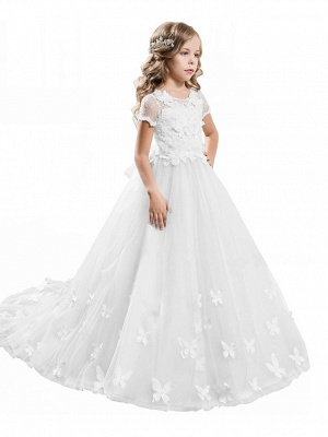 Ball Gown Sweep / Brush Train Wedding / Birthday / Pageant Flower Girl Dresses - Tulle / Cotton Short Sleeve Jewel Neck With Lace / Embroidery / Appliques_13