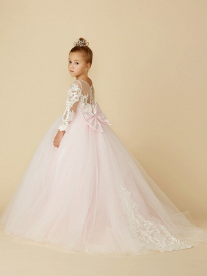 Ball Gown Court Train Wedding / Party / Pageant Flower Girl Dresses - Lace / Tulle Long Sleeve Illusion Neck With Bows / Bow(S) / Buttons_2
